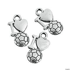 I Love Soccer Charms