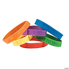 I Love To Write Rubber Bracelets