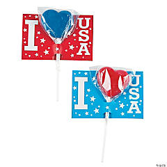 I Love USA Suckers with Cards