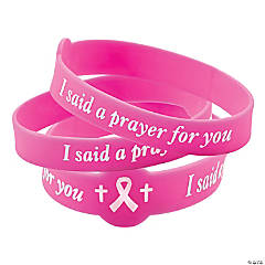 I Said A Prayer For You Pink Ribbon Rubber Bracelets