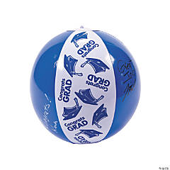 "Inflatable Blue ""Congrats Grad"" Autograph Beach Balls"