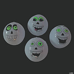 Inflatable Glow-in-the-Dark Skull Beach Balls - 12 Pc.
