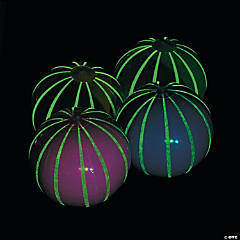 Inflatable Large Glow-in-the-Dark Striped Beach Balls