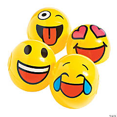 Inflatable Mini Emoji Beach Balls - 12 Pc.