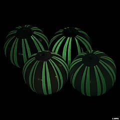 Inflatable Mini Glow-in-the-Dark Striped Beach Balls