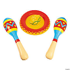 Inflatable Sombrero & Maraca Set