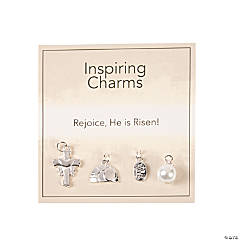 Inspiring Easter Faith Charms with Inspirational Tag - Silvertone