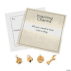Inspiring Goldtone Dog Lover Charms with Inspirational Tag