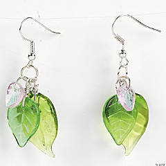 Iridescent And Green Leaf Earrings Idea