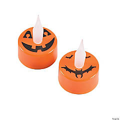 Jack-O'-Lantern Battery-Operated Tea Light Candles
