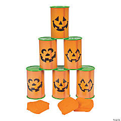 Jack-O'-Lantern Can Bean Bag Toss Game