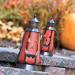 Jack-O'-Lantern Metal Lanterns