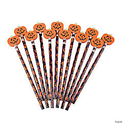 Jack-O'-Lantern Pencils with Eraser Toppers