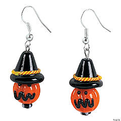 Jack-O'-Lantern Witch Lampwork Glass Bead Earring Kit