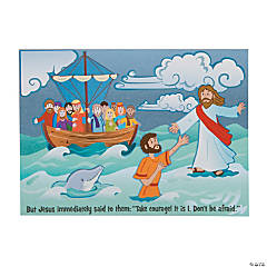 Jesus & Peter Walk on Water Mini Sticker Scenes