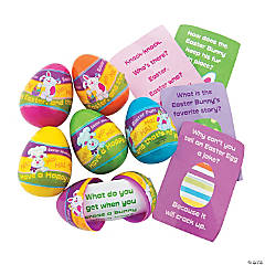 Joke-Filled Plastic Easter Eggs - 12 Pc.