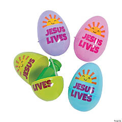 Jumbo Bubbles-Filled Religious Easter Eggs - 24 Pc.