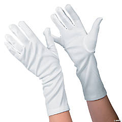 Kid's White Long Gloves