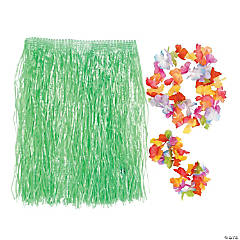 Kids' Green Hula Skirt Set