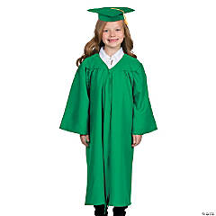 Kids' Green Matte Elementary School Graduation Robe