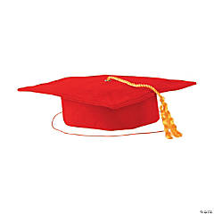 Kids' Red Matte Elementary School Graduation Mortarboard with Tassel