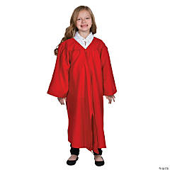 Kids' Red Matte Elementary School Graduation Robe