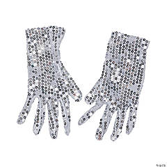 Kid's White Sequin Gloves