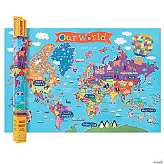 Kid's World Wall Map - Set of 2 maps