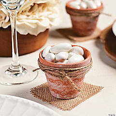 Lace Wrapped Mini Terra Cotta Pots Favor Idea