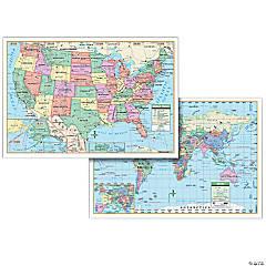 Laminated U.S. & World Combo Wall Map