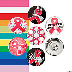 Large Awareness Ribbon Snap Beads - 18mm