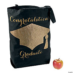 Large Black & Gold Graduation Tote Bag