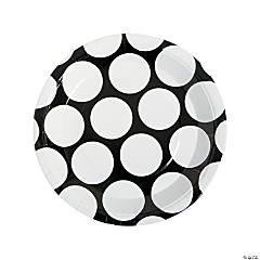 Large Black Polka Dot Paper Dinner Plates