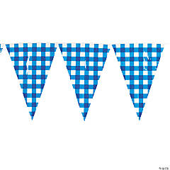 Large Blue Gingham Pennant Banner