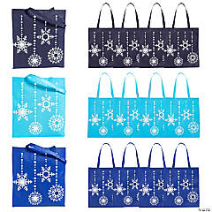 Large Blue Snowflake Tote Bags