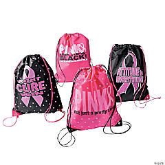Large Breast Cancer Awareness Drawstring Bags