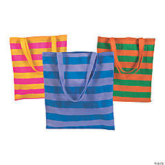 Large Bright Striped Tote Bags