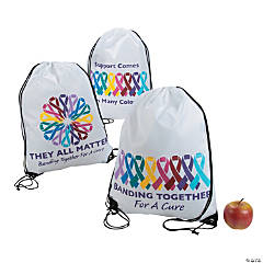 Large Cancer Awareness Drawstring Bags