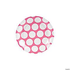 Large Candy Pink Polka Dot Paper Dessert Plates