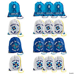 Large Child Abuse Awareness Drawstring Bags