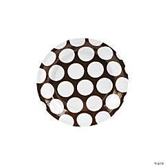 Large Chocolate Brown Polka Dot Paper Dessert Plates
