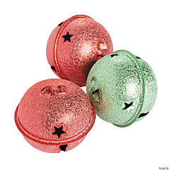 Large Frosted Red & Green Jingle Bells