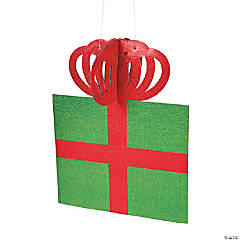 Large Glittered Hanging Present