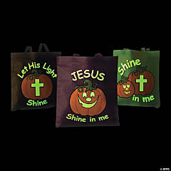 Large Glow-in-the-Dark Christian Pumpkin Tote Bags