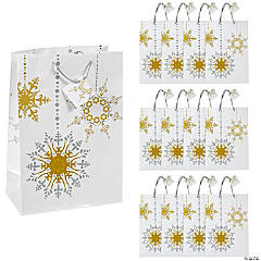 Large Gold & Silver Gift Bags with Tags