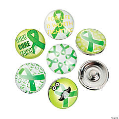 Large Green Awareness Ribbon Snap Beads - 18mm