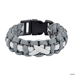 Large Grey Awareness Ribbon Paracord Bracelets