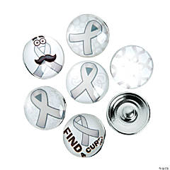 Large Grey Awareness Ribbon Snap Beads