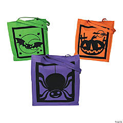 Large Halloween Silhouette Character Tote Bags