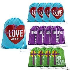 Large He Lives Drawstring Bags